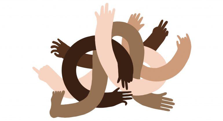 Een verzameling diverse armen en handen