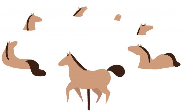 Illustratie waarin door middel van zinkende carousel-paarden wordt uitgebeeld dat alleen het eerste paard aandacht krijgt.