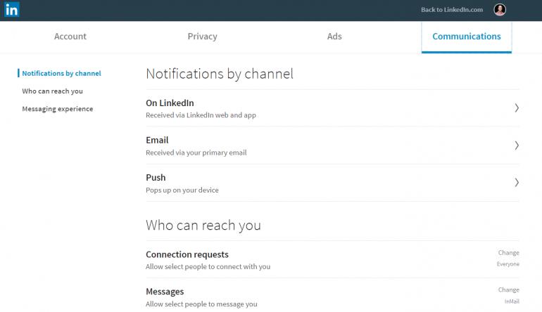 Screenshot van hoe je je meldingen aanpast op LinkedIn 1/3.
