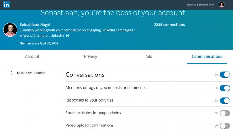 Screenshot van hoe je je meldingen aanpast op LinkedIn 3/3.