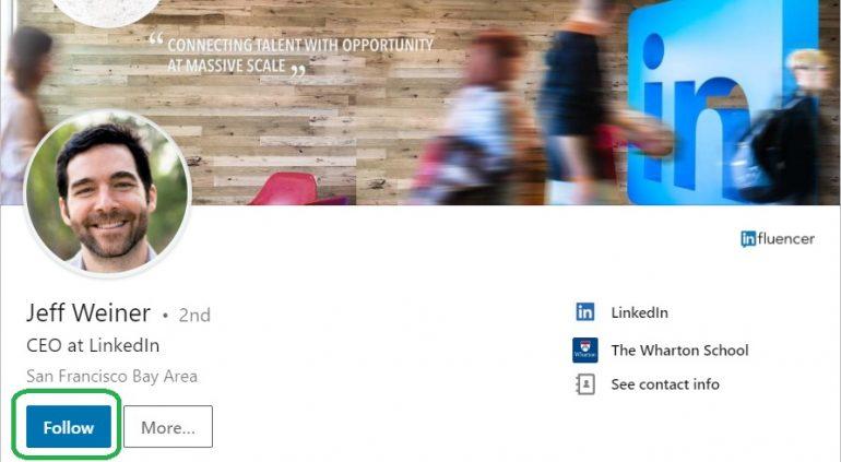 Screenshot van hoe je iemand volgt op LinkedIn.