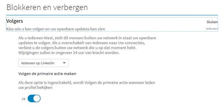 Screenshot van hoe je volgers moet blokkeren of verbergen.