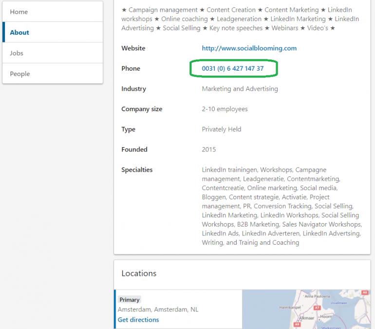 Screenshot van een bedrijfspagina met een directe link naar een telefoonnummer.