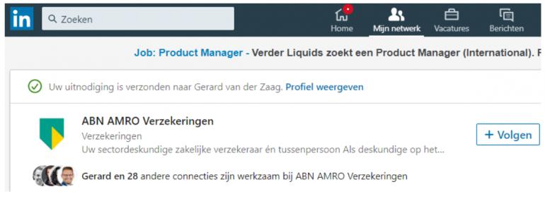 Screenshot van een LinkedIn-profiel dat een bedrijf gaat volgen.
