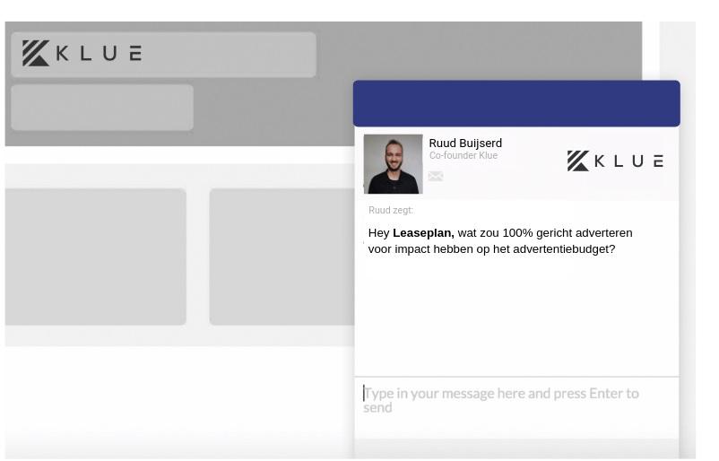 Mock-up van personalisatie in chat voor Leaseplan.