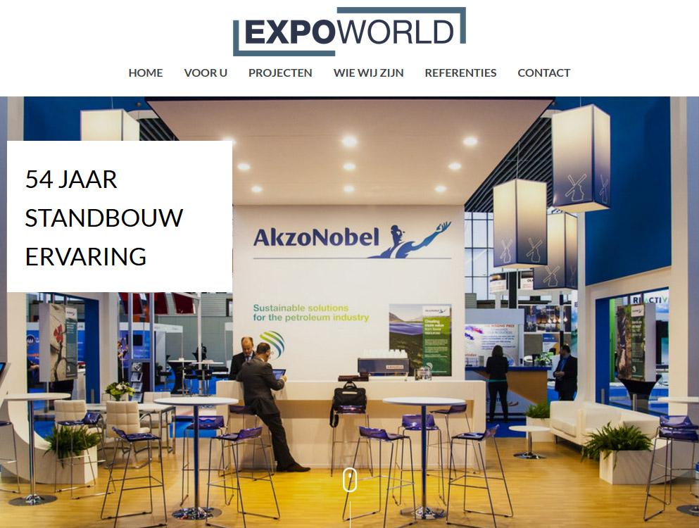 Screenshot van de website van Expoworld, waarin de homepage wordt gepersonaliseerd voor bezoekers van AkzoNobel.