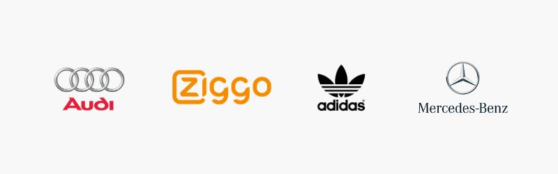 Willekeurige logo's op een rijtje, niet gepersonaliseerd.