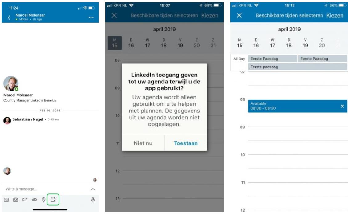 Screenshot van hoe de agenda op LinkedIn eruit ziet.