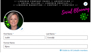 Screenshot van hoe je je meisjesnaam toevoegt aan je LinkedIn-profiel 2/2.