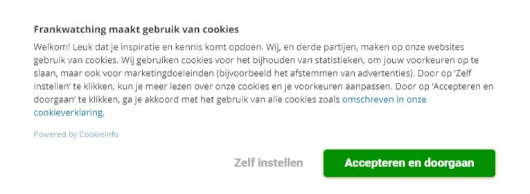 Dit is de cookiebanner die gdpr-compliant is.
