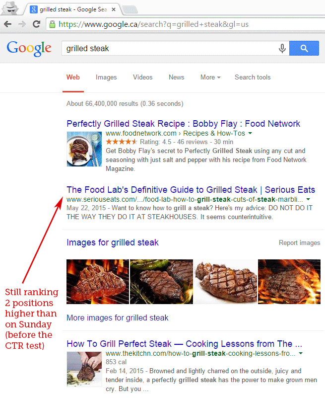 Fishkin experiment after two days of Google search result