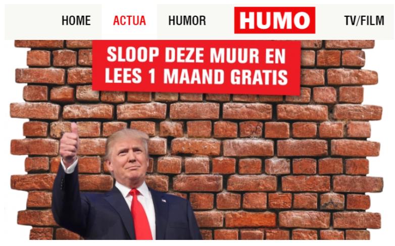 Screenshot van de letterlijke betaalmuur van HUMO, bestaande uit stenen en een foto van president Trump.