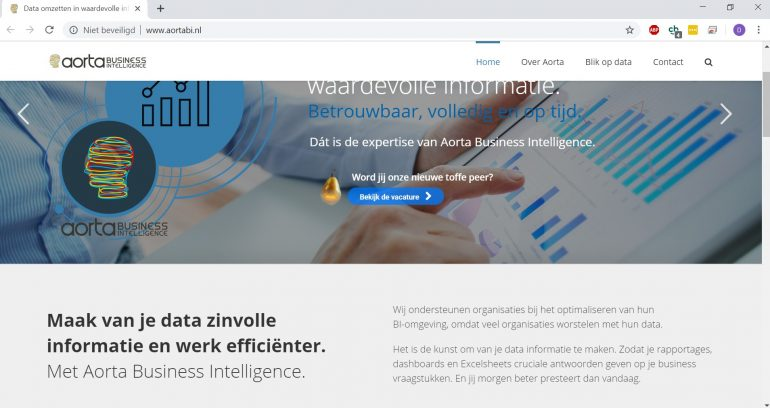Screenshot van homepage van Aorta BI.