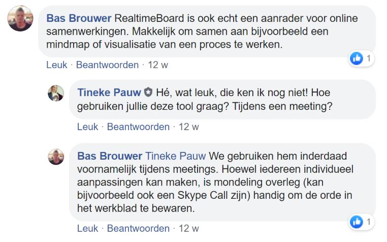 Screenshot van een chat op Facebook met Bas Brouwer.