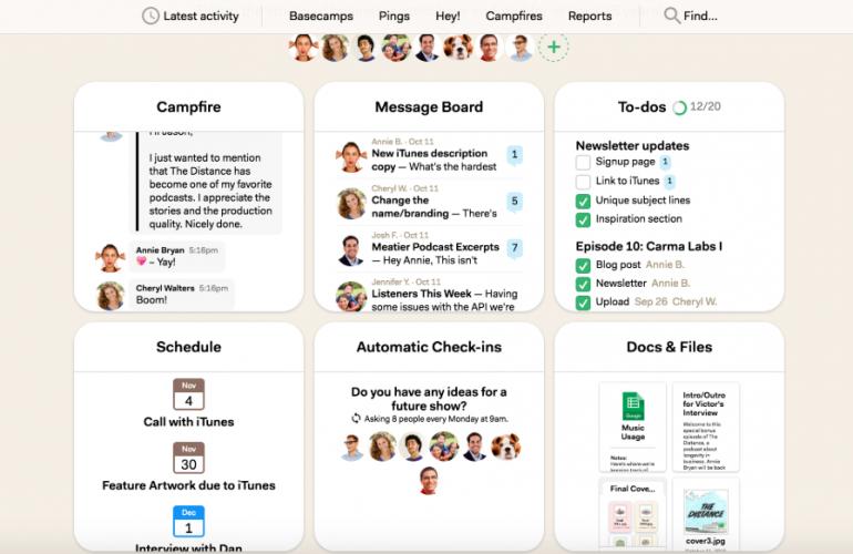 Screenshot van Basecamp: een van de tools voor online samenwerken.