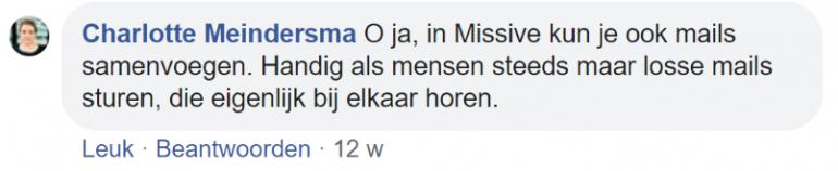 Screenshot van een chat op Facebook met Charlotte Meindersma.