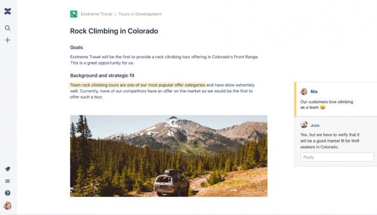 Screenshot van Conflurence: een van de tools voor online samenwerken.