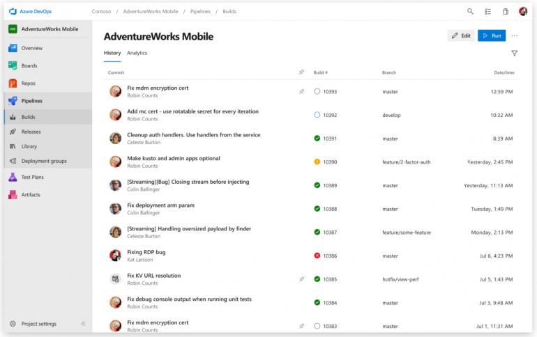 Screenshot van Azure DevOps: een van de tools voor online samenwerken.