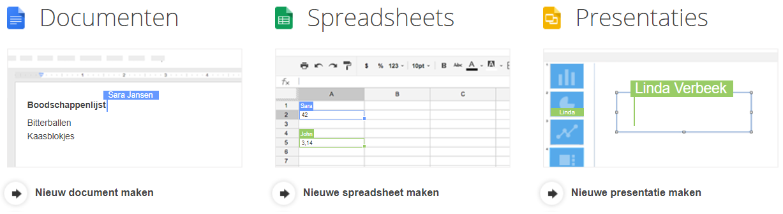 Screenshot van Google Drive: een van de tools voor online samenwerken.