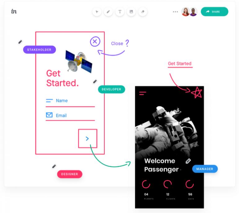 Screenshot van Invision Freehand: een van de tools voor online samenwerken.