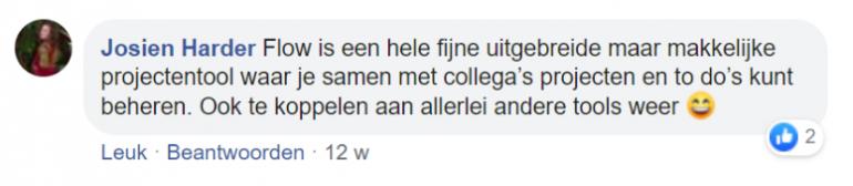 Screenshot van een chat op Facebook met Josien Harder.