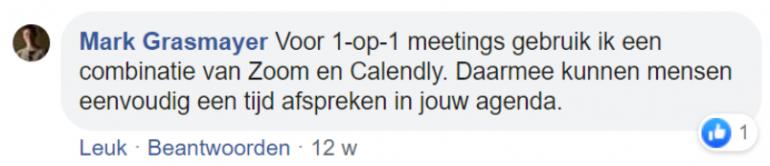 Screenshot van een chat op Facebook met Mark Grasmayer.