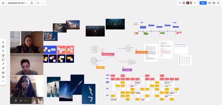 Screenshot van Miro: een van de tools voor online samenwerken.