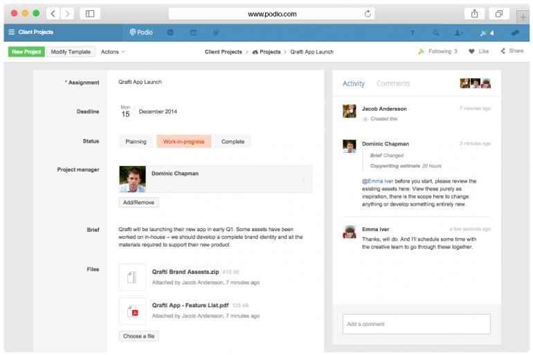 Screenshot van Podio: een van de tools voor online samenwerken.