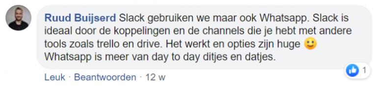 Screenshot van een chat op Facebook met Ruud Buijserd.