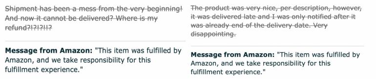 Voorbeeld van een review op Amazon, waarbij Amazon zelf de verantwoordelijkheid neemt.