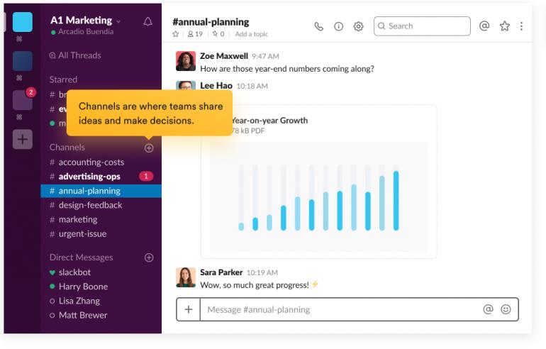 Screenshot van Slack: een van de tools voor online samenwerken.