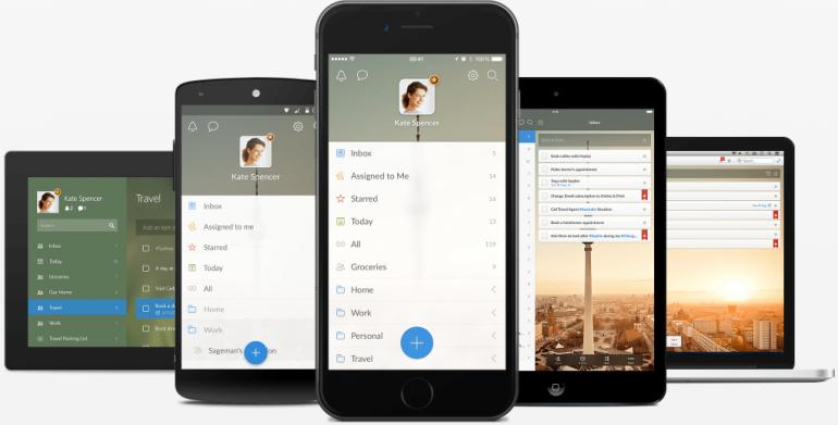 Screenshot van Wunderlist: een van de tools voor online samenwerken.