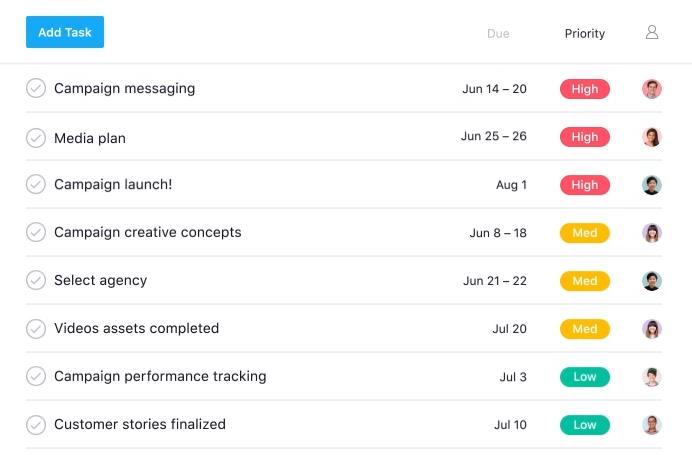 Screenshot van Asana: een van de tools voor online samenwerken.