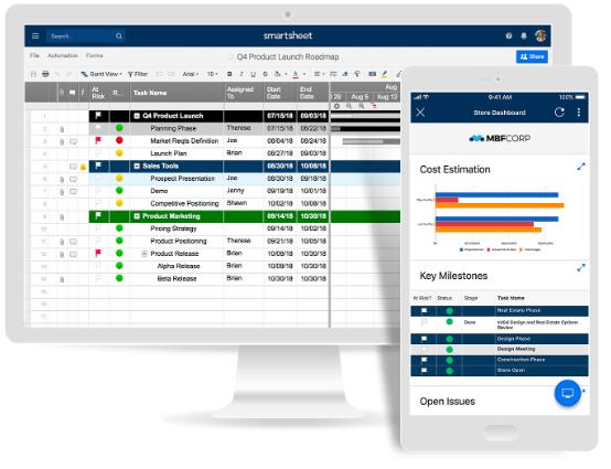Screenshot van Smartsheet: een van de tools voor online samenwerken.