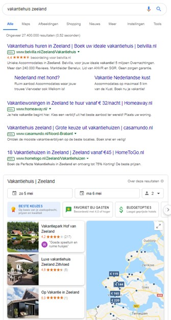 Google's accomodation finder
