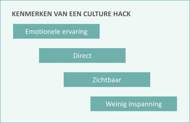 De kenmerken van een culture hackaton in beeld, voor het stimuleren van een organisatieverandering.