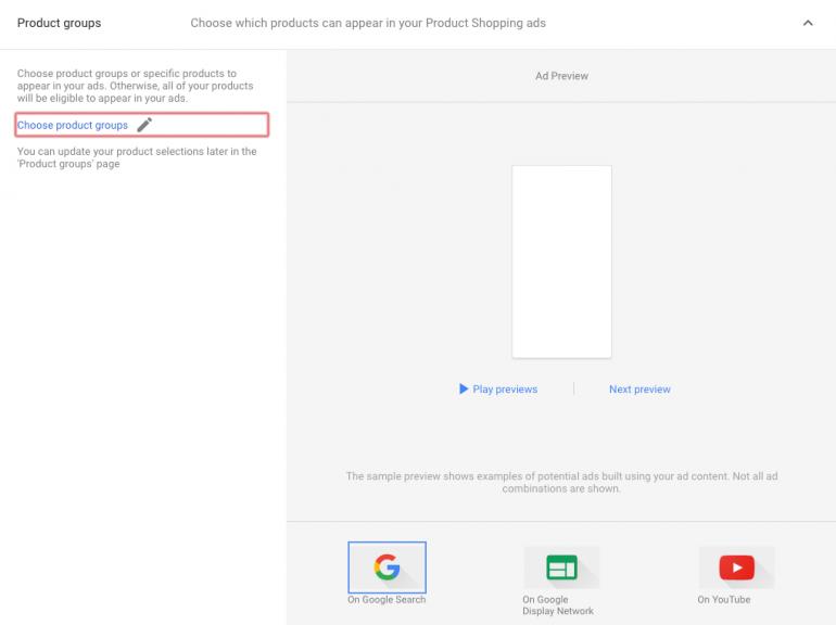 Selectie producten uit google merchant center