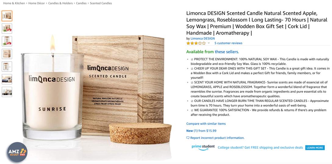 Screenshot van een product met beschrijving op Amazon.