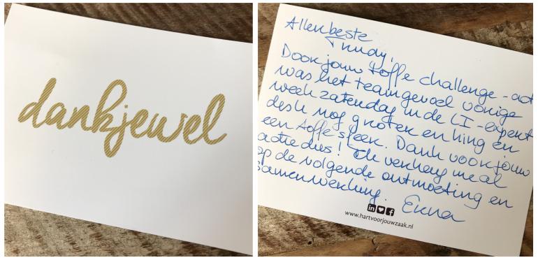 #DML19 wees persoonlijk - Handgeschreven kaartje van Erna van Poppel - Hart voor jouw zaak