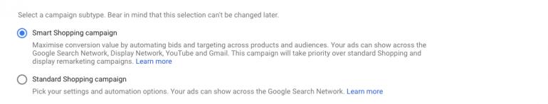 selectie smart shopping google ads