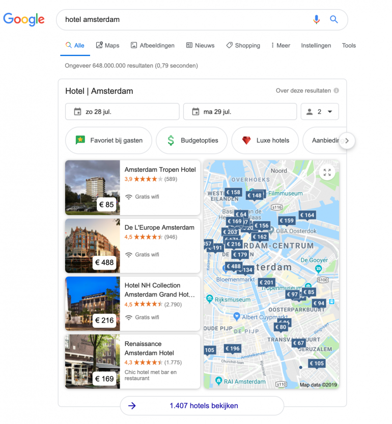 google featured snippet reidgids hotel amsterdam