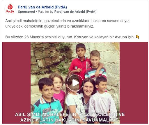 Facebook-ad in Turkse taal van PvdA.