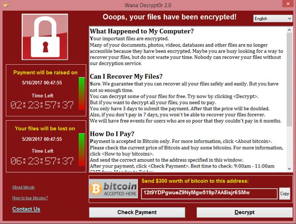 Screenshot van de WannaCry ransomware-aanval in 2017.