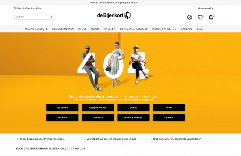 Voorbeeld van de 404-pagina van de Bijenkorf.