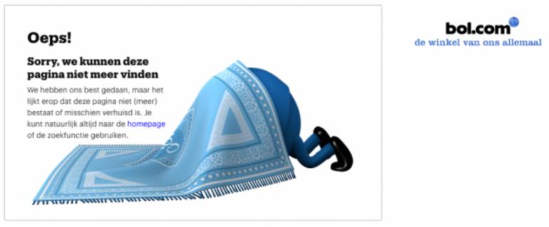 Voorbeeld van een 404-pagina van Bol.com voor het behoud van je SEO-waarde.