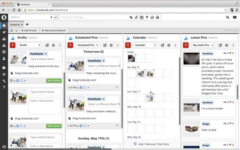Screenshot van Hootsuite, een van de tools voor het inplannen van socialmediaposts.
