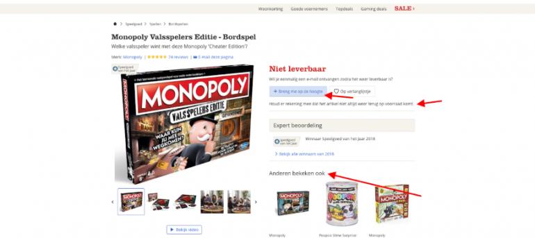 Een voorbeeld om de SEO-waarde te behouden, door niet leverbare producten online te houden.