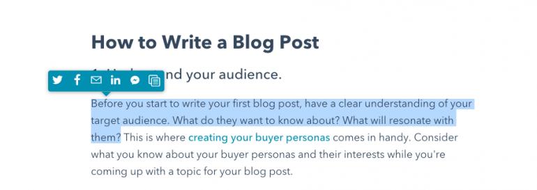 Voorbeeld van hoe HubSpot gebruikmaakt van een quote to tweet feature zodat content uit hun blogs makkelijk deelbaar is.