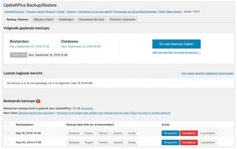 Screenshot van de WordPress-plugin UpdraftPlus.