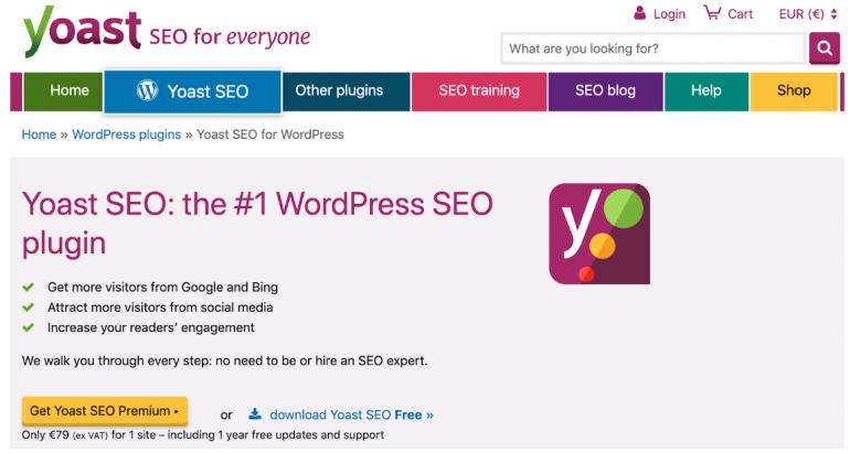 Screenshot van WordPress-plugin Yoast SEO.